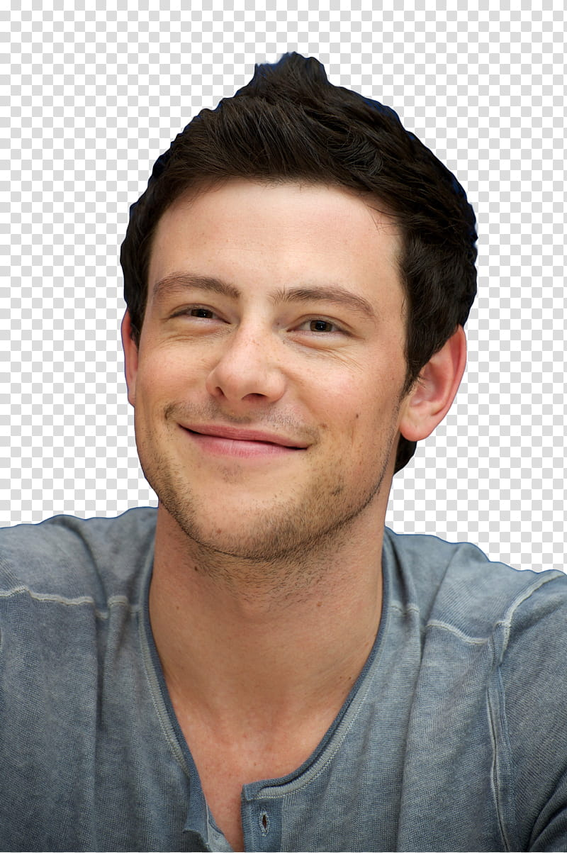 Cory Monteith, man wearing gray shirt transparent background.