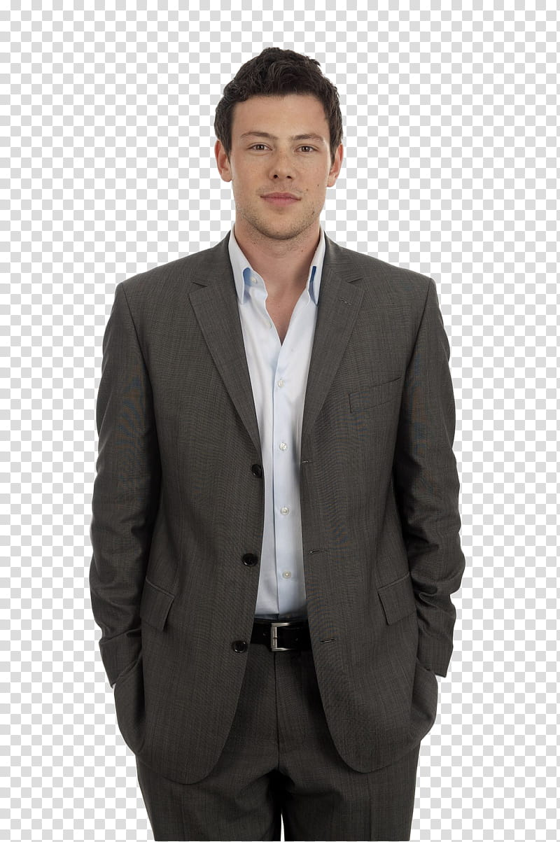 Cory Monteith, man wearing brown suit jacket transparent.