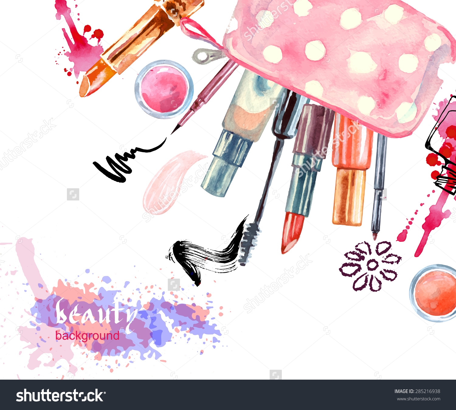 Watercolor Cosmetics Background Cosmetic Bag Make Stock Vector.