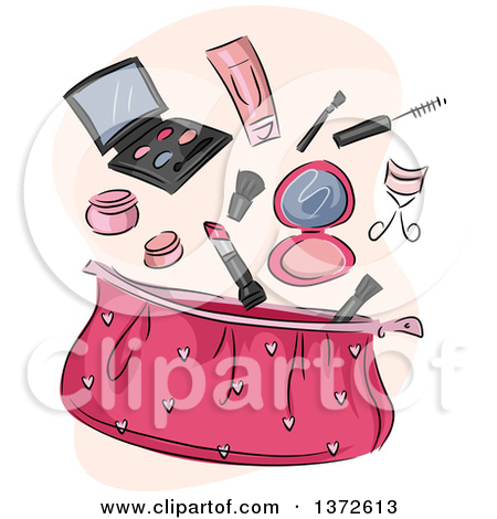 Clipart of a Pink Cosmetic Bag with Makeup.