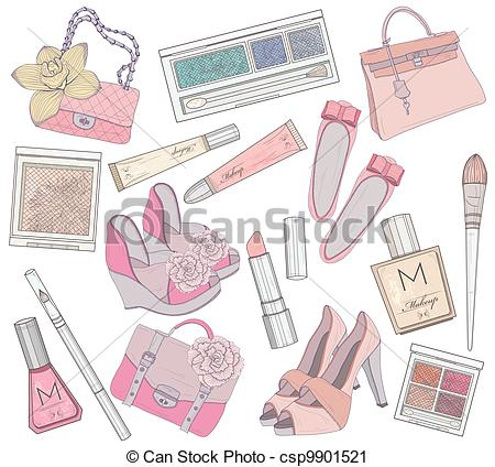 Vector Clip Art of Women shoes, makeup and bags element set.