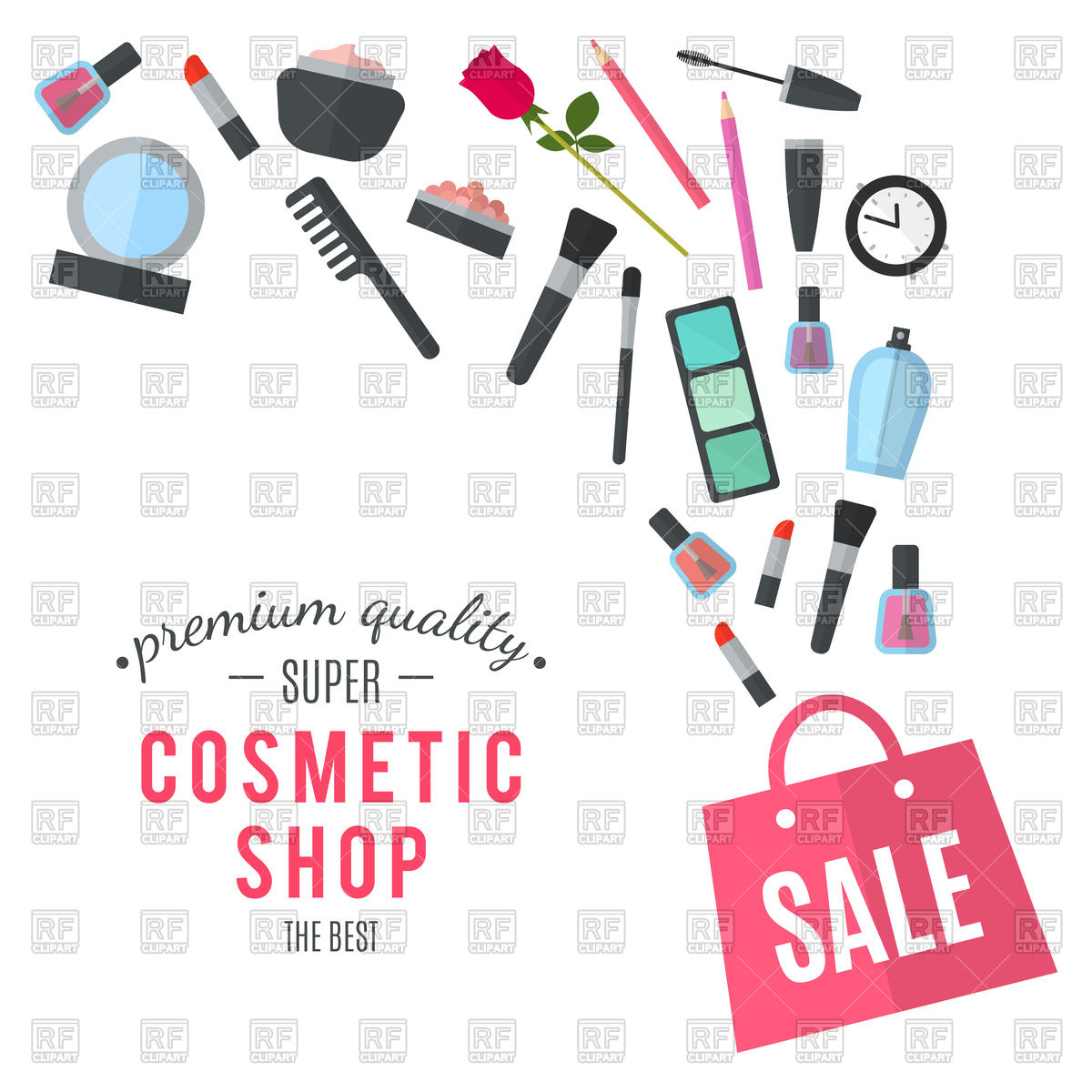 Make up concept with cosmetic bag Vector Image #108461.