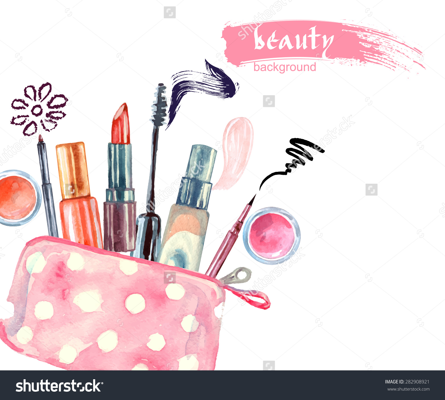Watercolor Cosmetics Pattern Cosmetic Bag Make Stock Vector.