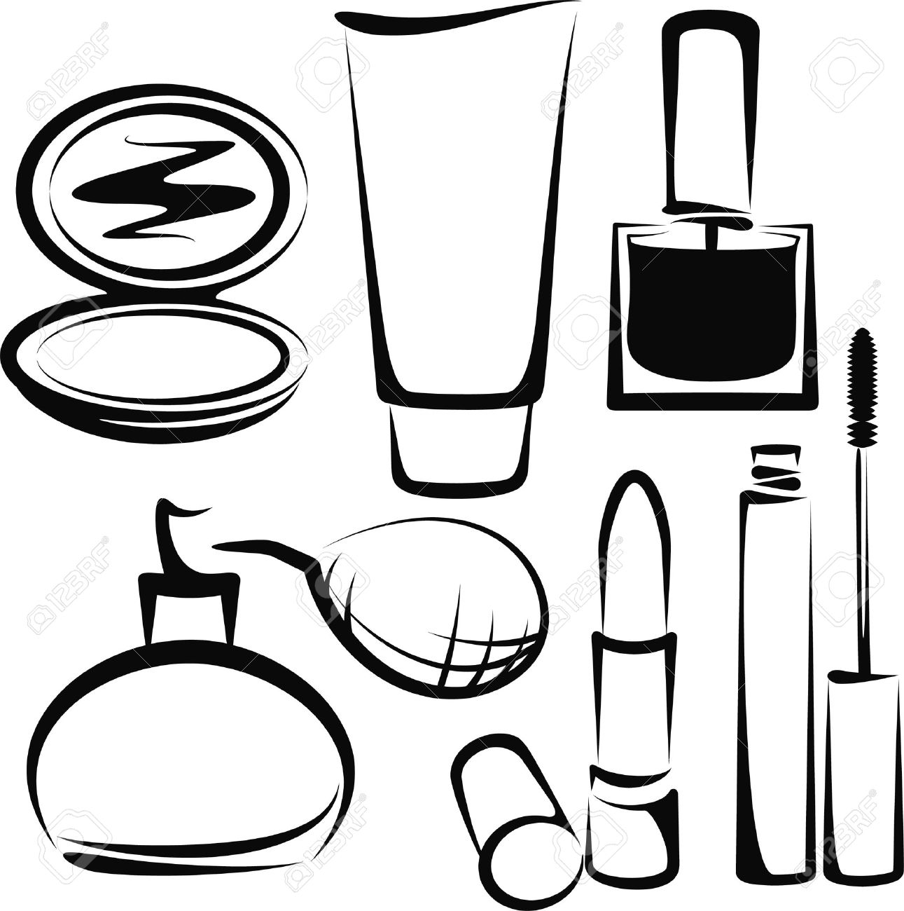 Cosmetic clipart clipground for Nail polish coloring page