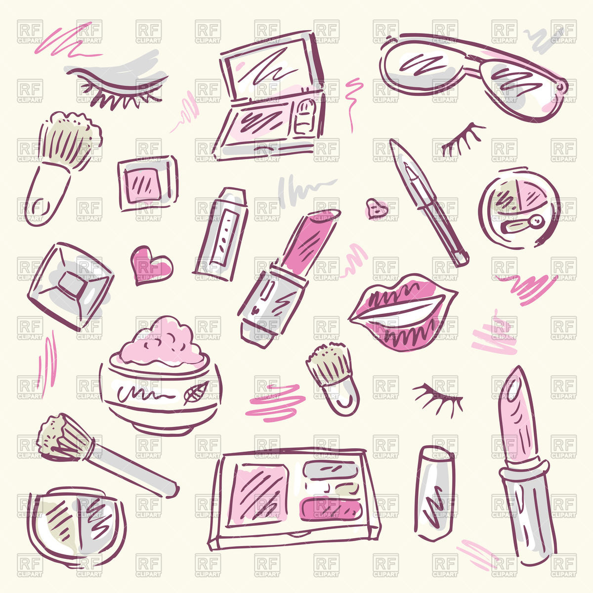Sketchy set of cosmetic for makeup Stock Vector Image.