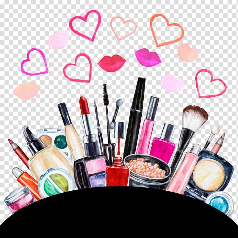Makeup brush illustration, Cosmetics Eye shadow Lipstick.