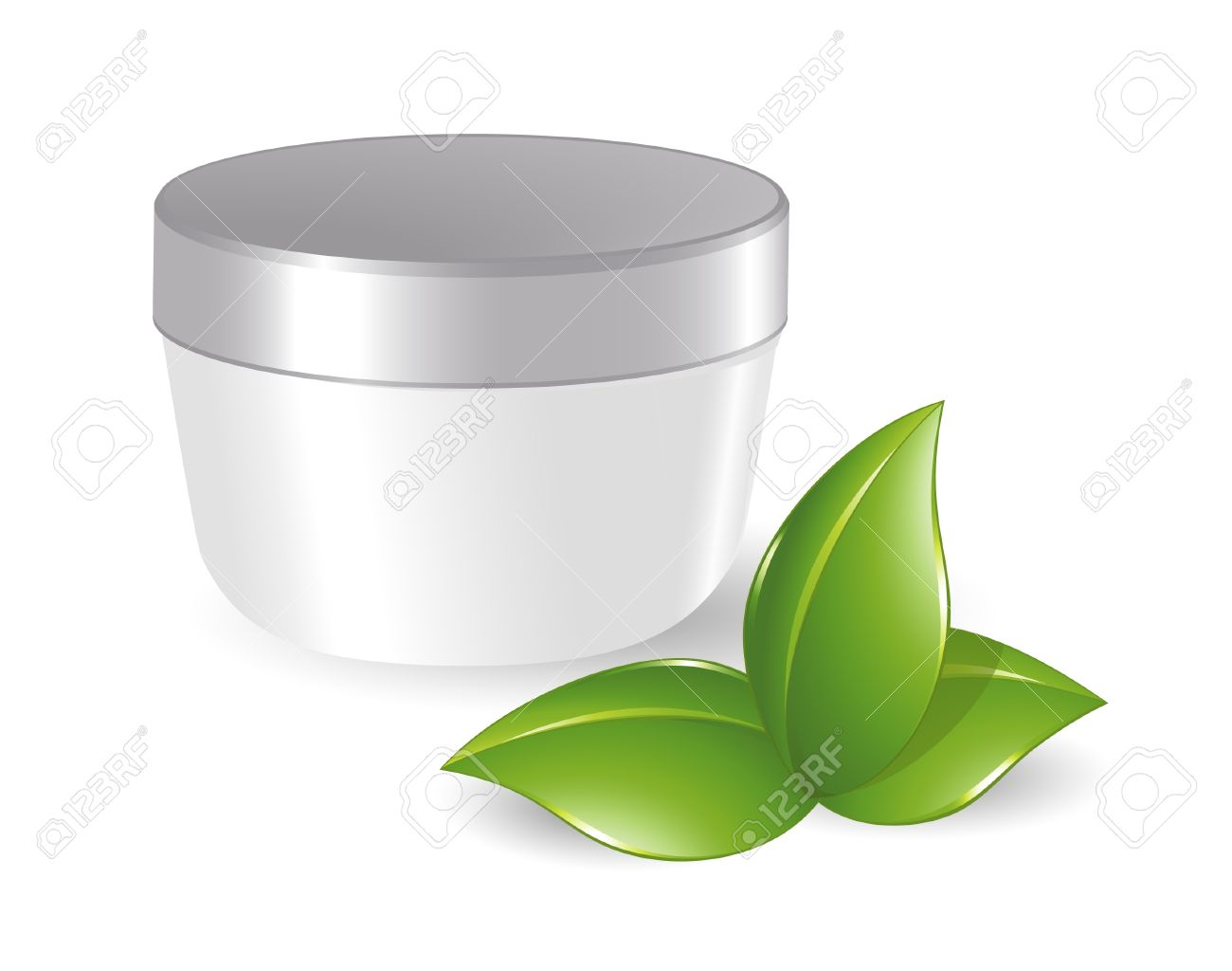 Blank Cosmetic Container With Green Leafs Royalty Free Cliparts.