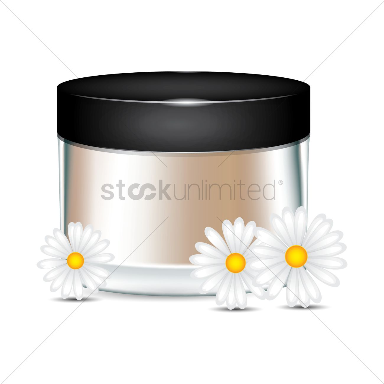 Cosmetic jar with flowers Vector Image.