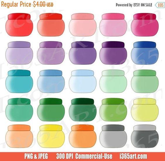 Cute Cosmetic Jars Clipart, Makeup Jar Clip Art, Face Cream.