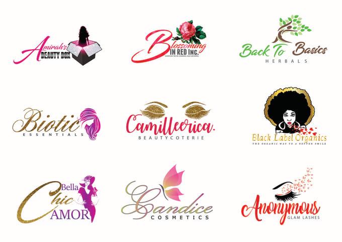 design feminine cosmetic makeup and luxury fashion logo.