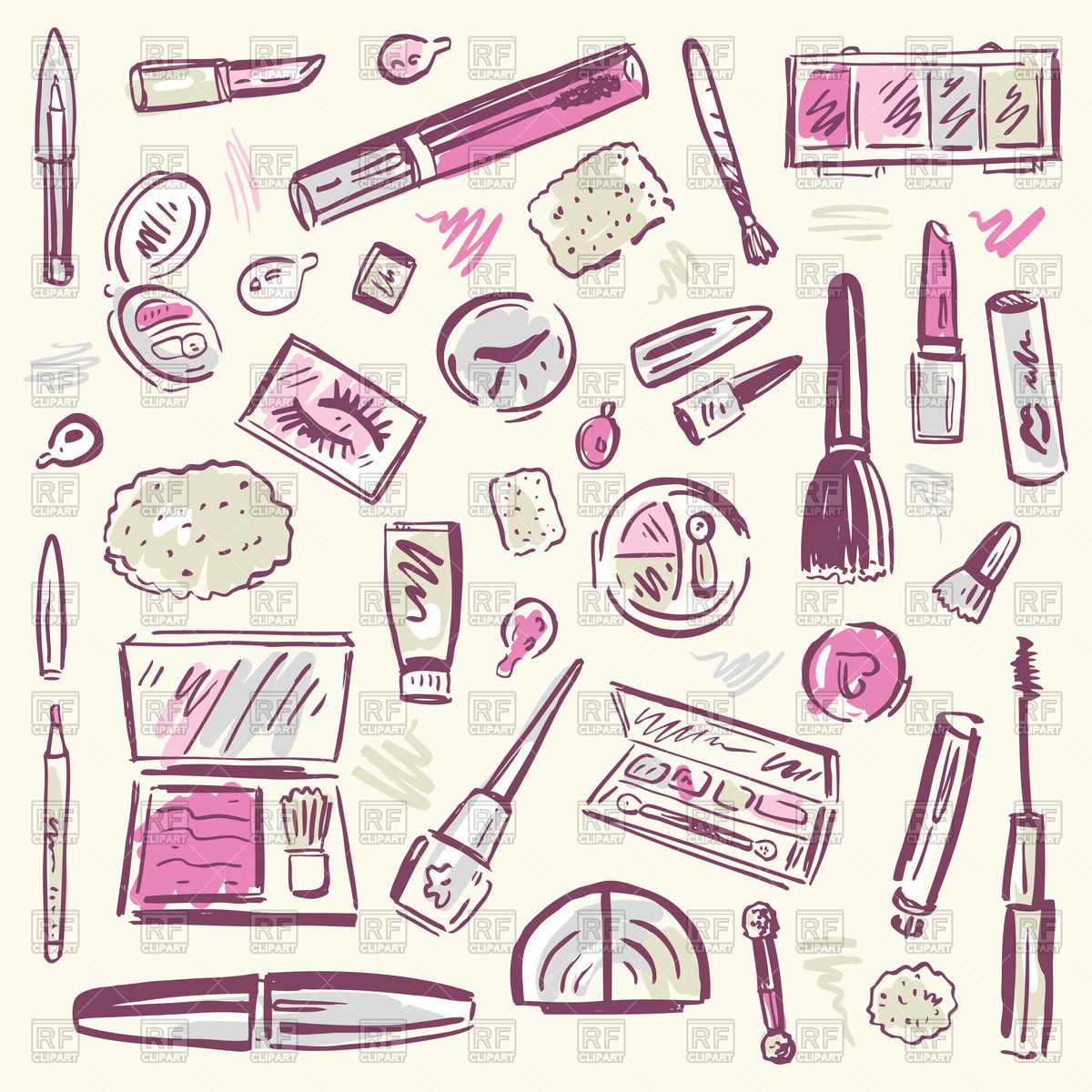 Sketchy set of cosmetic and makeup products Vector Image #45789.
