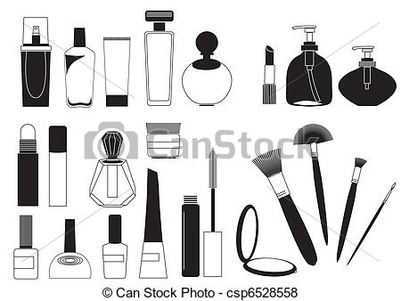 Vector of Cosmetic products .Vector collection on white for make.