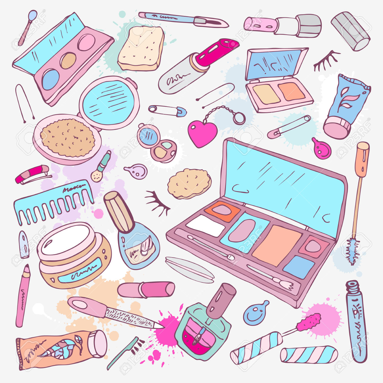 Makeup Products Set Hand Drawn Vector Illustration Royalty Free.