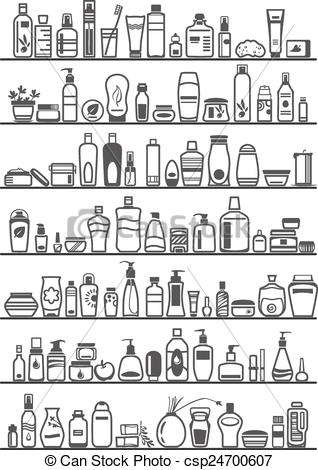 Vector Clipart of different cosmetic products for personal care.