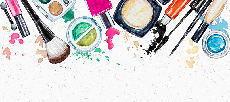 Hand Painted Watercolor Background Makeup Cosmetics, Makeup, Brushes.