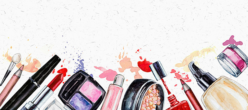 Hand Painted Watercolor Background Makeup Cosmetics, Beauty, Makeups.