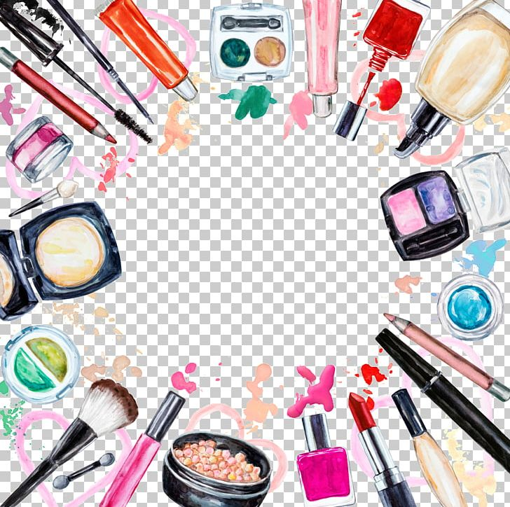 Cosmetics Watercolor Painting Makeup Brush Lip Gloss PNG, Clipart.