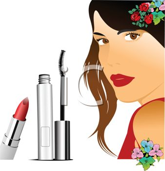 Royalty Free Clip Art Image: Pretty Model with Cosmetics.