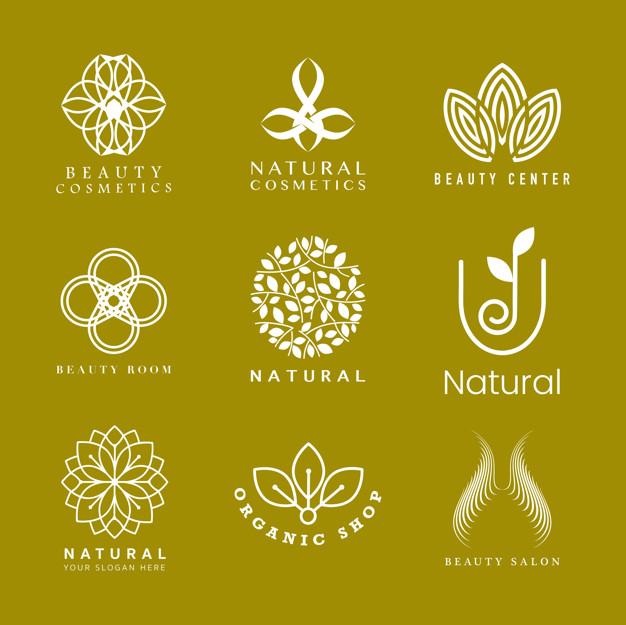 Set of natural cosmetics logo Vector.