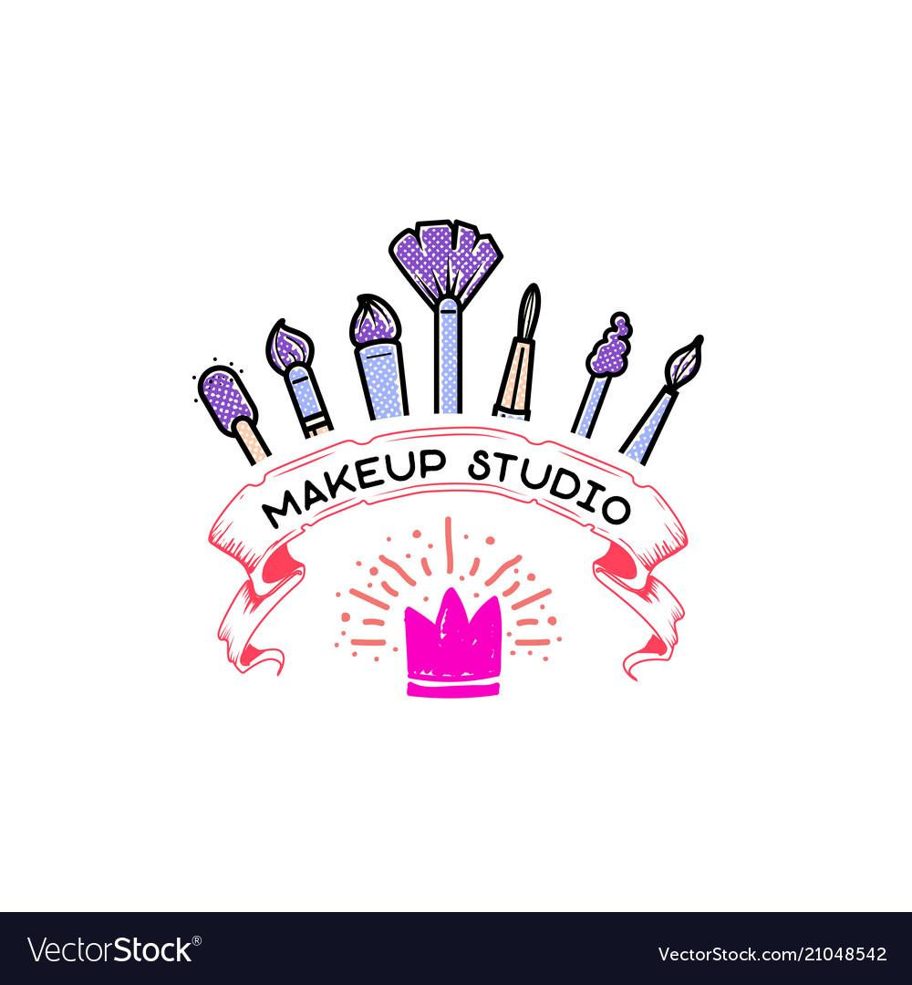 Cosmetics logo handwritten lettering makeup.
