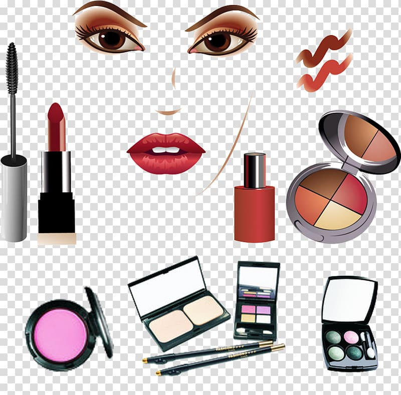 Cosmetic product lot illustration, Cosmetics Make.
