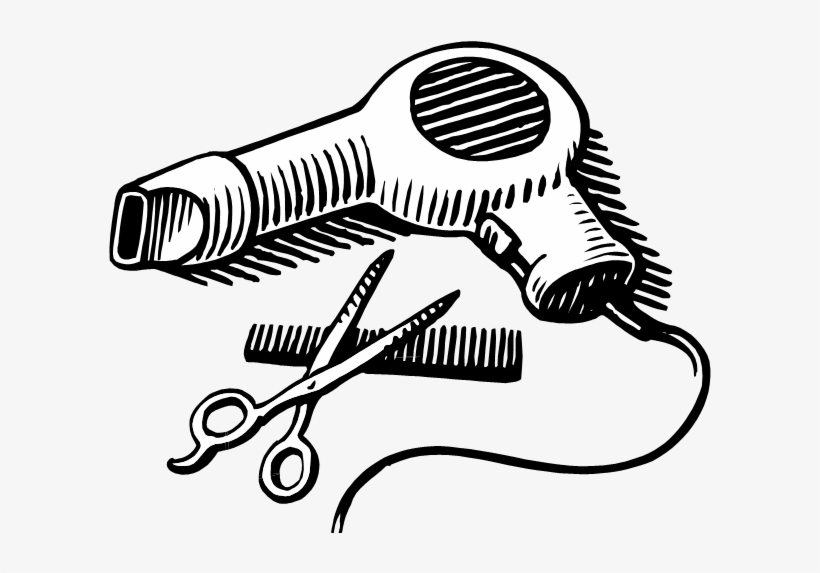 Png Black And White Library Hair Stylist Clipart.