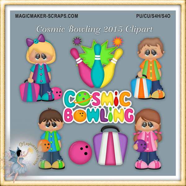 Cosmic Bowling 2015 Clipart.