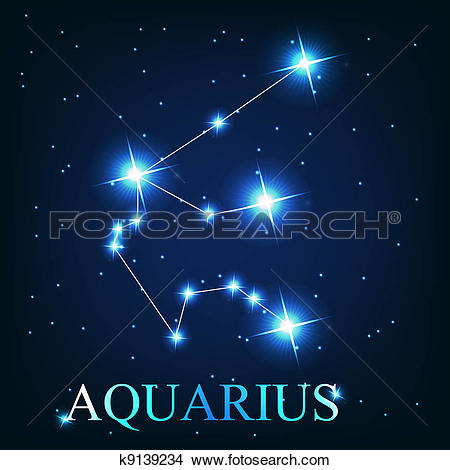 Clipart of vector of the aquarius zodiac sign of the beautiful.