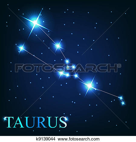 Clipart of vector of the taurus zodiac sign of the beautiful.