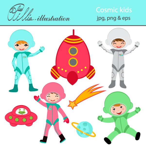 This cute Cosmic kids set comes with 8 cliparts including happy.