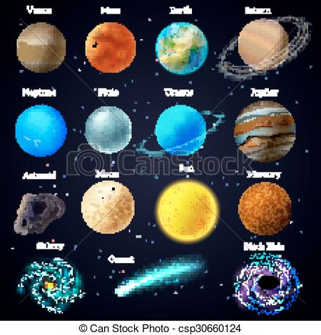 Vector Illustration of Cosmos stars planets galaxy icons set.