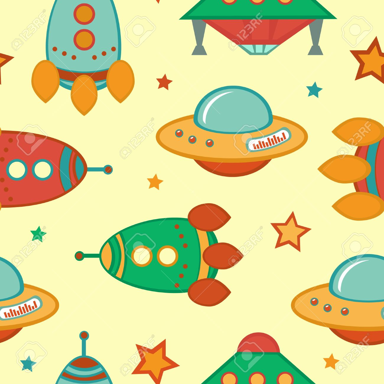 Colorful Outer Space Seamless Pattern Royalty Free Cliparts.