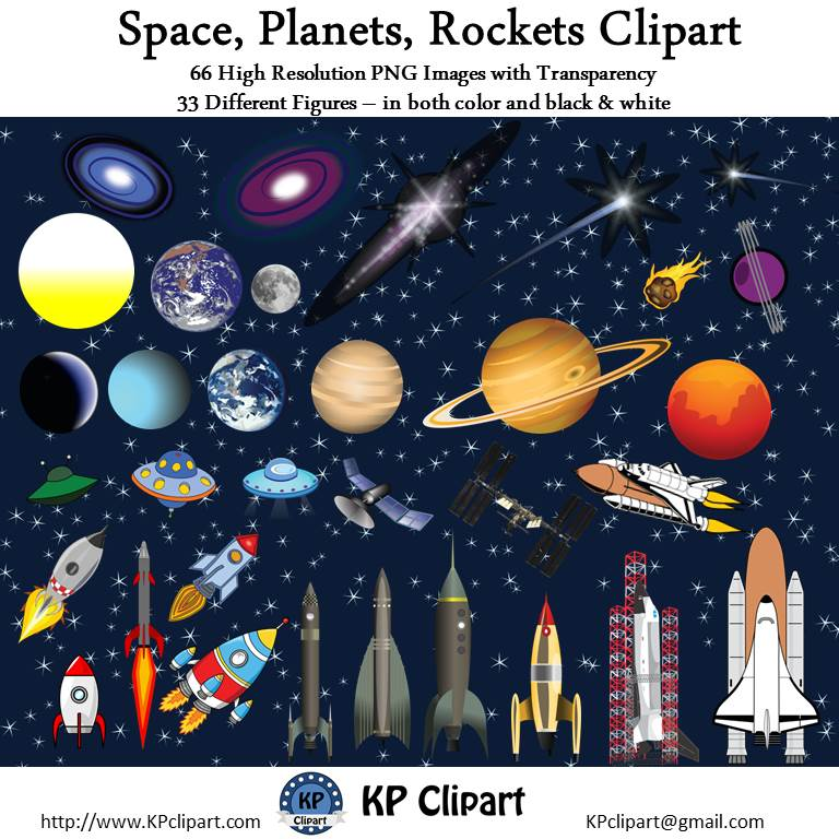 KP Clipart: Space Rockets and Solar System Clipart.