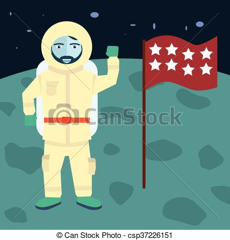 Clipart Vector of vector astronaut stands on the planet with flag.