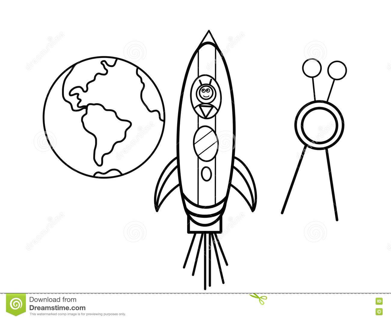 Cosmodrome Kids Coloring Pages Stock Illustration.