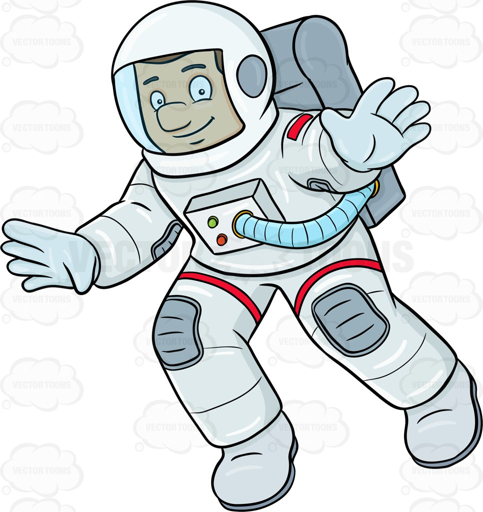 A Male Astronaut Smiles While Drifting In Space Cartoon Clipart.