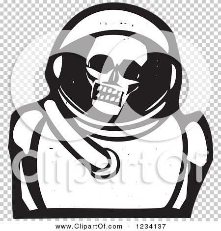 Clipart of a Woodcut Skull in an Astronaut Space Suit, in Black.