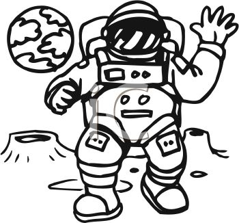 Royalty Free Clipart Image: Astronaut in spacesuit walking on the moon.