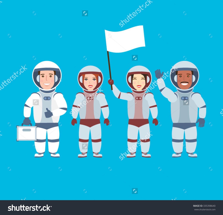 Astronauts Astronaut Blank Flaga Team Cosmonauts Stock Vector.