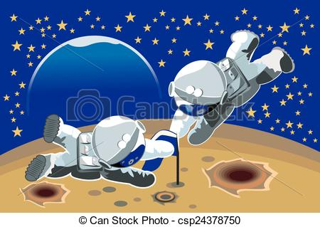 Clipart Vector of two cosmonauts.