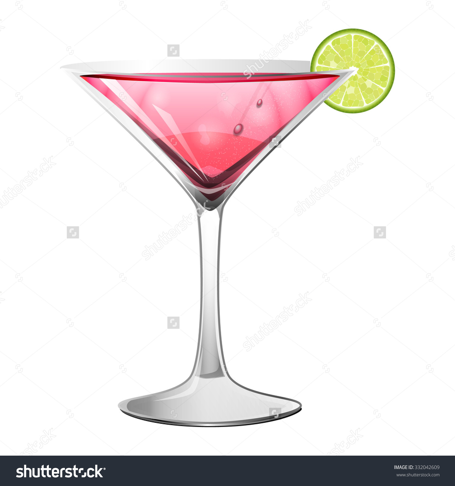 Cosmopolitan Alcohol Cocktail Pink Drink Served Stock Vector.