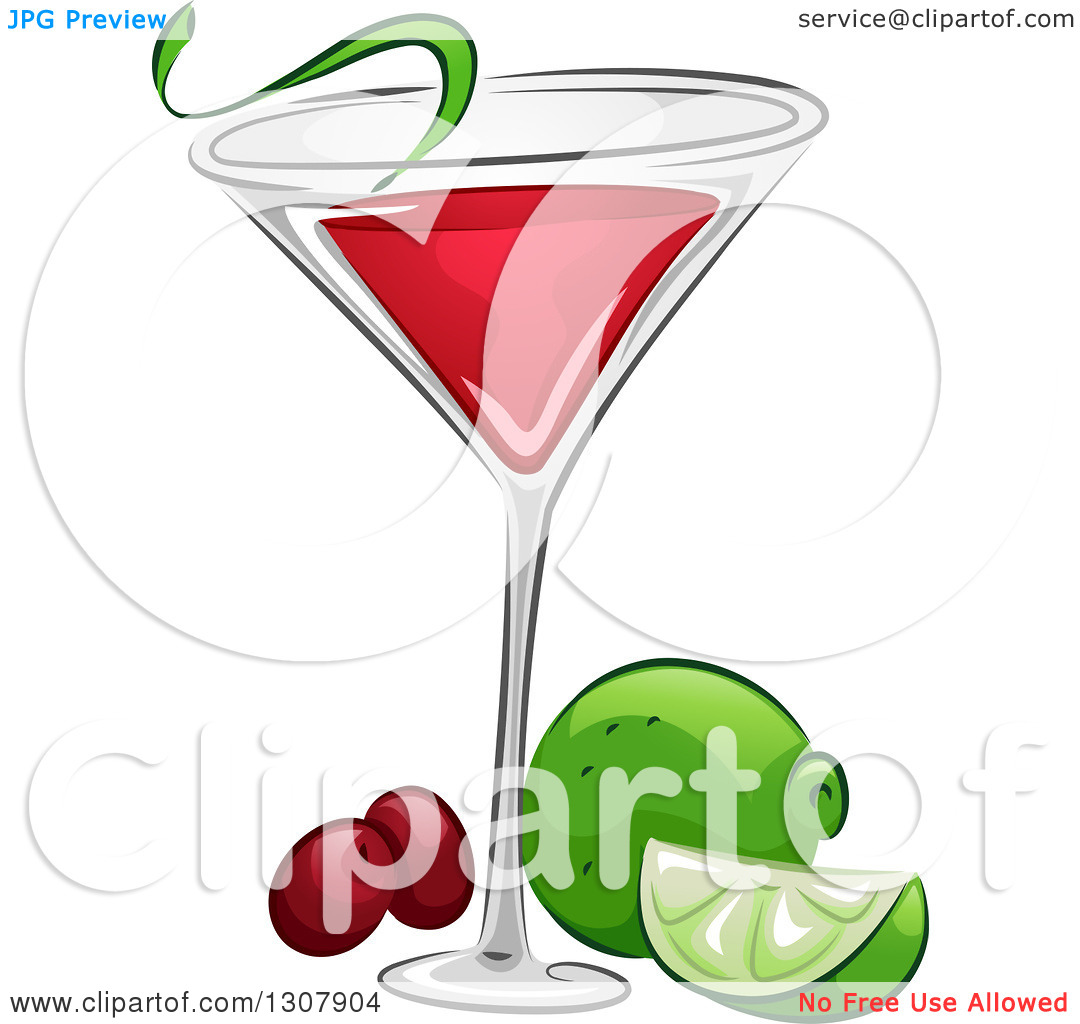 Clipart of a Cosmopolitan Cocktail with Lime and Cranberries.