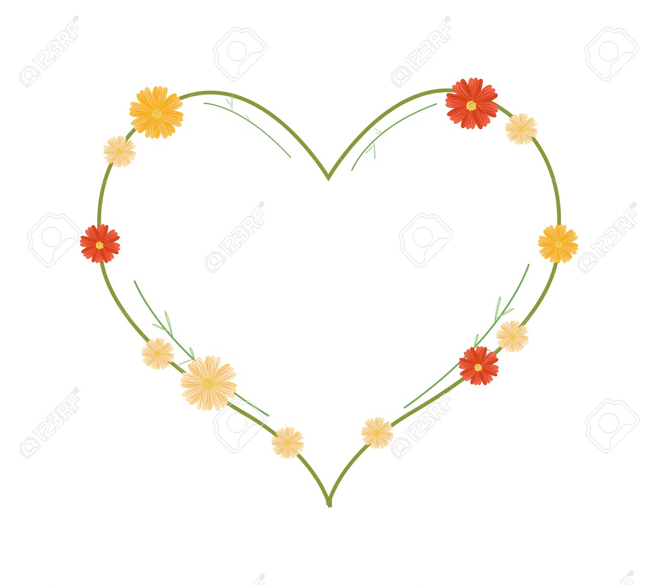 Love Concept, Illustration Of Yellow And Orange Cosmos Flowers.