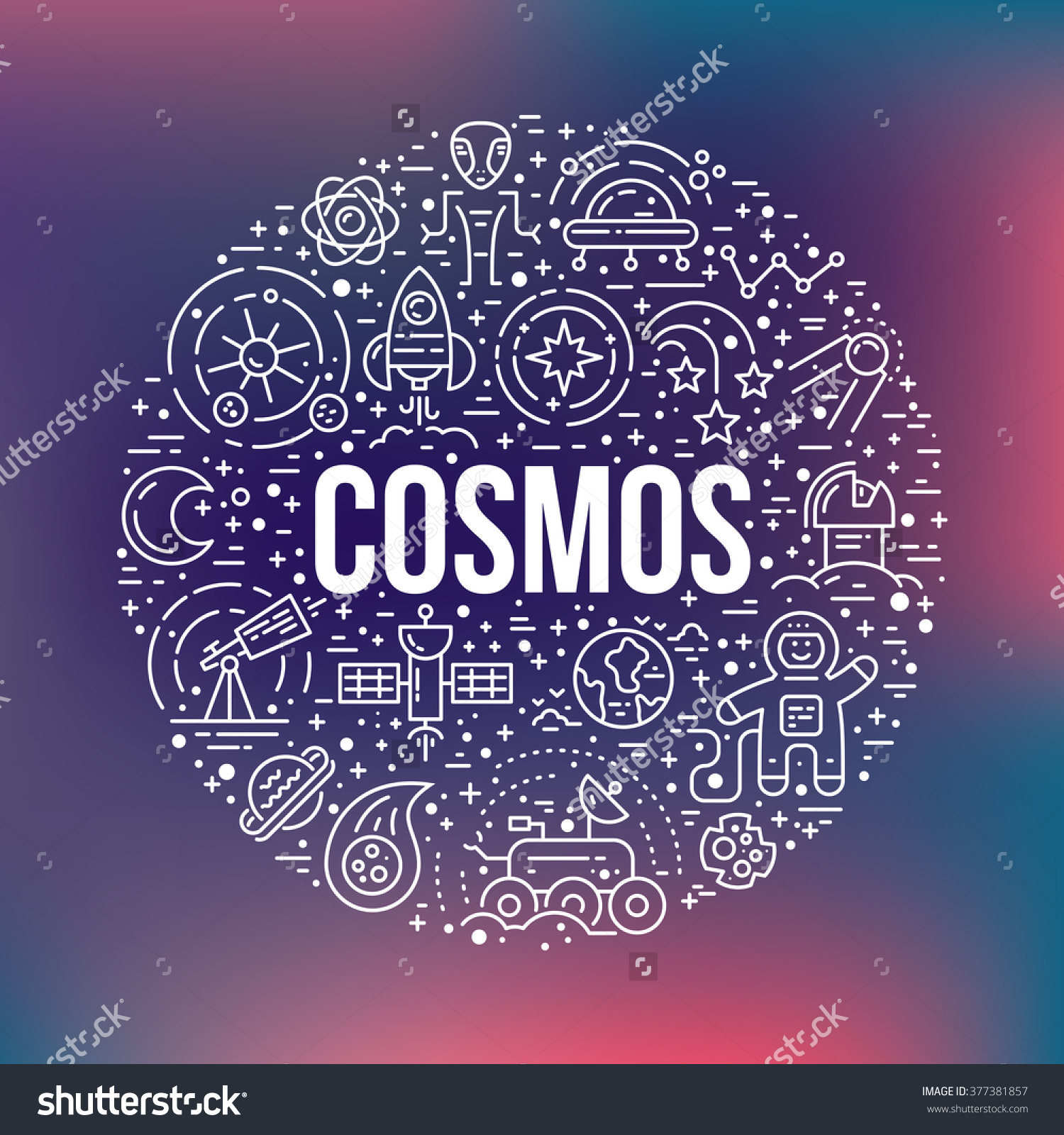 Cosmos Clipart Element Different Space Universe Stock Vector.