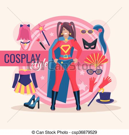 Vector Illustration of Cosplay Character Pack For Girl.