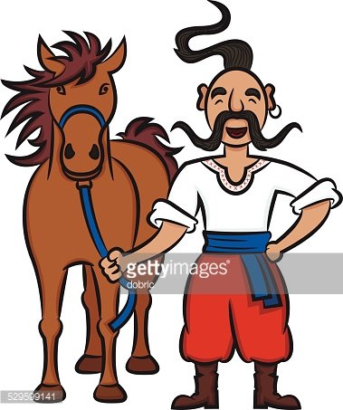 Happy Ukrainian Cossack With A Brown Horse Clipart Image.