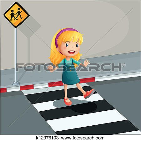 Clipart of Kid helping senior lady crossing the street k17667041.