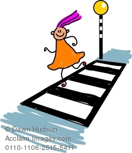 Royalty Free Clip Art Image: Little Girl Child Crossing the Road.