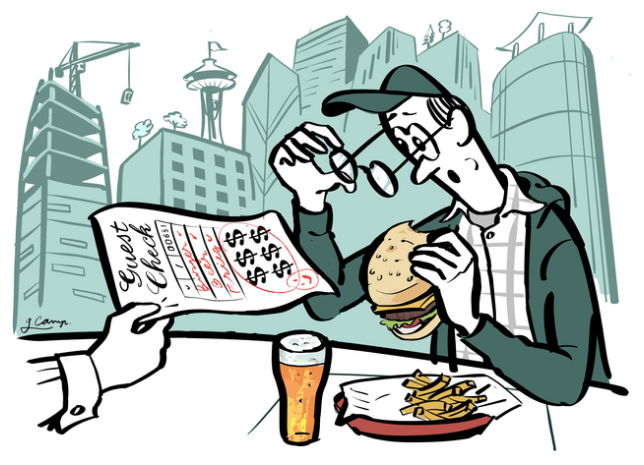 Beer, burgers and haircuts: Seattle hits new high for cost.