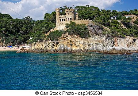 Stock Photo of Landscape with castle form sea in Lloret de Mar.